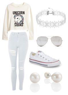 """White"" by lagoona920 on Polyvore featuring H&M, Topshop, Converse and Sunny Rebel"