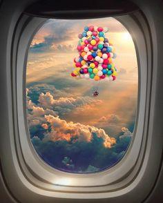 #Windowshot #ariplane #plane #balloon #Sky #clouds #sunset #travel
