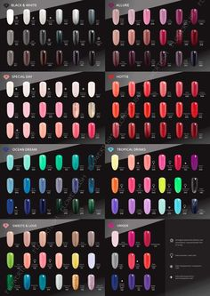 Large photo zoom in on all the Semilac gel nail polish colors Gel Nail Varnish, Gel Nail Polish Colors, Uv Gel Nail Polish, Shellac Nails, Gel Nail Art, Manicure And Pedicure, Opi Colors, Colours, Uv Gel Nagellack