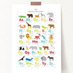 Bright Animal Alphabet Print Safari Animal Wall Art Jungle image 1 Nursery Prints, Nursery Wall Art, Nursery Ideas, Nursery Decor, Room Decor, Alphabet Print, Animal Alphabet, Woodland Animal Nursery, Safari Animals