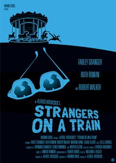 """MP1136. """"Strangers on a Train"""" Alternative Movie Poster by Alain Bossuyt (Alfrd Hitchcock 1951) / #Movieposter"""