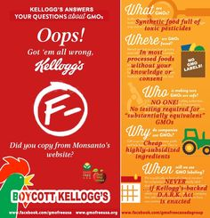 "Kellogg's has a GMO problem. Quarterly report after quarterly report since we launched our Boycott Kellogg's GMOs campaign in the fall of 2012, Kellogg's sales have tanked. And they'll never recover so long as Kellogg's sources GMOs for their products. But instead of responding to growing consumer demands, they continue to carry Monsanto's water. They've even tried to launch a propaganda website called ""Open For Breakfast"" to answer their customers' questions about GMOs. And the answers are…"