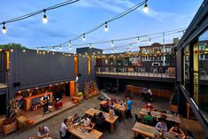 Origins Story - Restaurant and Brewery Collective Container Bar, Outdoor Restaurant Patio, Outdoor Cafe, Cafe Shop Design, Cafe Interior Design, Brewery Design, Restaurant Design, Restaurant Restaurant, Shipping Container Restaurant