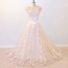 50s Wedding Gown Embroidered Pink Tulle 1950s by daisyandstella, $650.00