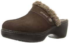 crocs Women's Cobbler Leather Clog * See this awesome image : Closed toe sandals Shoes Heels Wedges, Crocs Shoes, Wedge Heels, Closed Toe Sandals, Leather Clogs, Cobbler, Brown Suede, Heeled Mules, Slippers