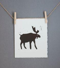 Woodland decor Antlers on a Moose Linocut PRINT  by RetroModernArt