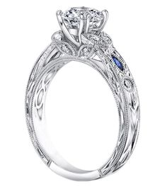 Vintage Design Engagement Ring with Round Diamonds and Marquise Blue Sapphires in 14k White Gold