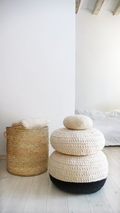 Image of Crochet Floor Cushion thick wool - Natural undyed