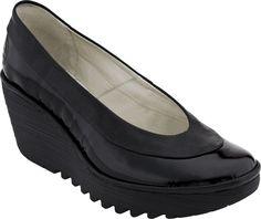 Fly London Yoko Women's Wedge Shoe (Black/Black )