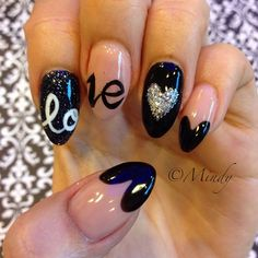 """Love"" almond shaped nails"