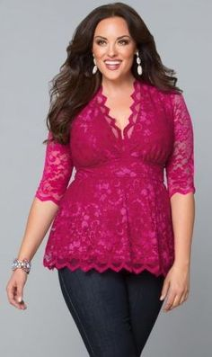 beautiful plus size top Don't love the color but I love the style and all the lace. Very flattering.