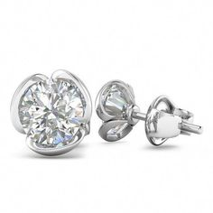 9 mm round white topaz Gems Fleur Zircon Hoop Femmes Boucles D/'oreilles ONU 18K Gold filled