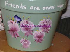 Fuschias with Friend Quote - handpainted flower pot