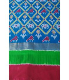 Blue Pure Handloom Ikkat Silk Saree