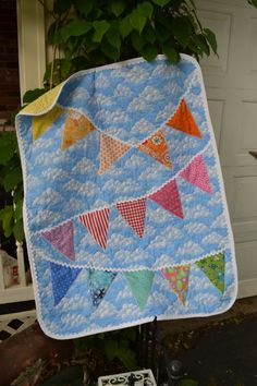 Handmade Quilt Modern Rainbow Bunting by TrueloveQuiltsForYou