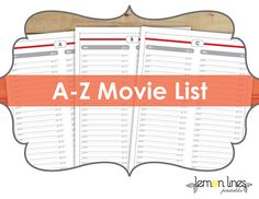 Movie List Printable Pack  26 Pages  by LemonLinesPrintables, $5.00. Now I can actually keep track of my 300+ movie collection!