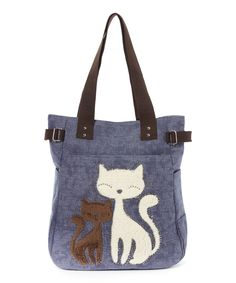 Look at this Sleepyville Critters Blue Lovely Cats Tote on #zulily today!