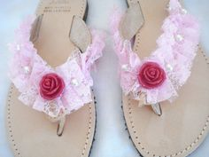 3902abfa1d87 Items similar to Pink lace leather flip flops