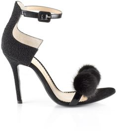 Aperlai Black Beaded Pom Pom Sandals in Black