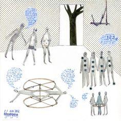 ClaudiaMaina:::Tamed Bodies n°1:::_2012  Matita, penna pastelli e adesivi su carta  25 x 25 cm