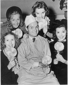 Bob Hope with Gloria Jean, Judy Garland and Ann Rutherford
