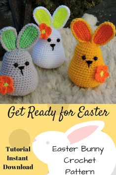 Cute Easter Decor or for the Easter Basket.Amigurumi Crochet Pattern - Easter Bunny, Crochet Rabbit, #Affiliate