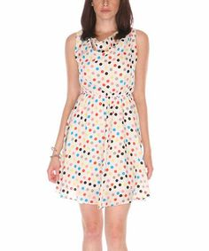 Look what I found on #zulily! White & Teal Polka Dot Drape Neck Sleeveless Dress #zulilyfinds