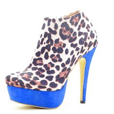 79.00$  Buy now - http://aliuo1.worldwells.pw/go.php?t=32317404970 - Leopard Color Woman High Blue Stiletto Heels And Thick Platform Ankle Boots 2105 Pointed Closed Toe Spring And Autumn Sexy Shoes 79.00$