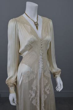 1930s vintage silk and lace robe deco negligee robe from VintageVirtuosa