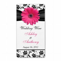 Shop Pink Daisy Damask Wedding Wine Bottle Labels created by wasootch. Pink Gerbera, Pink Daisy, Wedding Labels, Wedding Favor Tags, Damask Wedding, Floral Wedding, Personalized Wine Bottles, Wedding Wine Bottles, Champagne Label