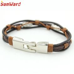 >> Click to Buy << Alloy PU Leather Strap Bracelets Rope Black Braided Bracelet for Men Jewelry Delicate New Hot #Affiliate