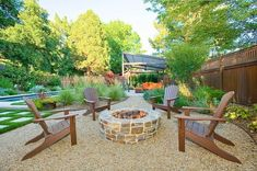 Love this fire pit area with crushed stone