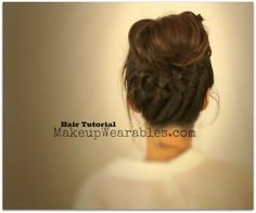 Romantic, messy #bun #hair tutorial video for medium long hair | School hairdos, #hairstyles, #updos for school, wedding, prom, bridal #beauty #fashion #style #trend #styles #messybun