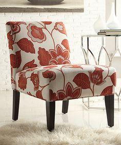 Look at this #zulilyfind! Red Floral Nevins Slipper Chair #zulilyfinds