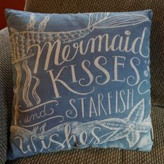 MERMAID KISSES & STARFISH WISHES Blue Couch Throw Pillow Beach Home Decor NEW #PrimitivesByKathy #Nautical