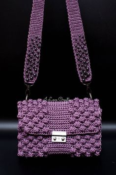 Purple bubble small purse Crochet T-shirt yarn bag Cross body image 1 Crochet Cord, Thread Crochet, Macrame Bag, Macrame Cord, Crochet Handles, Crochet T Shirts, Yarn Bag, Accesorios Casual, String Bag
