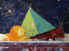 Abstract Oil Painting - Urban Pyramid - Still Life with Orange, Pyramid and Red Napkin – canvas 18x24in; approx. 45x60cm