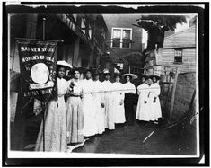 "http://www.loc.gov/pictures/item/93505051/resource/ Nine Afro-American women with Nannie Burroughs holding banner reading, ""Banner State Woman's National Baptist Convention."" [between 1905 and 1915]. Library of Congress Prints and Photographs Division."
