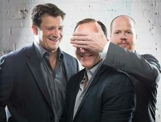 Nathan Fillion, Clark Gregg, and Joss Whedon. IT'S..... IT'S CASTLE AND AGENT AND THE MAN THAT HAS RUINED MY LIFE!