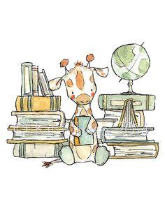 Childrens Art Bookish Giraffe Art Print by trafalgarssquare