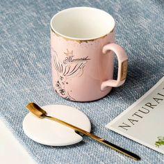 Pretty Pink Mermaid Ceramic Mug with Lid Spoon Coffee - eBay