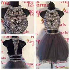 homecoming dress, short homecoming dress, short two pieces prom dress, gray prom dress, junior prom dress, E188 · lovebridal · Online Store Powered by Storenvy Junior Prom Dresses, Cheap Homecoming Dresses, Hoco Dresses, Dance Dresses, Pretty Dresses, Beautiful Dresses, Girls Dresses, Homecoming Dance, Graduation Dresses