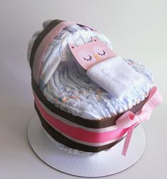 (Owl...sub teddy) Baby Shower Bassinet Diaper Cake in Pink and Brown