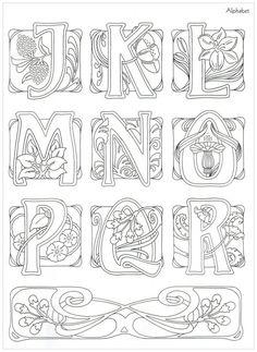 """Photo from album """"Art Nouveau Designs"""" on Yandex. Motifs Art Nouveau, Motif Art Deco, Art Nouveau Pattern, Art Nouveau Design, Alphabet Art, Calligraphy Alphabet, Alphabet Design, Graffiti Alphabet, Islamic Calligraphy"""