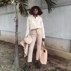 Oroma Elewa, My Summer 16 Style Inspiration: Khaki Trousers, Cream Tank & T Blouse, Cropped Cream Jacket, Oxfords. https://www.instagram.com/oroma.elewa/