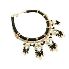 LEATHER-CHAINED STATEMENT NECKLACE