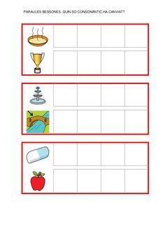 Fitxes per treballar la consciència fonològica Catalan Language, Valencia, Letters, Map, School, Preschool Alphabet Activities, Preschool Writing, Index Cards, Location Map