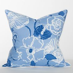 Blue Hibiscus Pillow - Sanibel Collection - #BeachPillow #CoastalPillow #LillyPulitzer