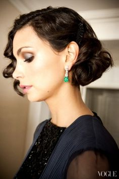 Getting Ready for the Golden Globes 2013 with Homeland's Morena Baccarin. I love the slightly vintage look they put together for Morena. The eyes and hair are my favorite highlights.