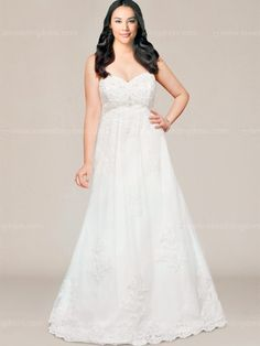 Simple plus size wedding dress is a sweet style that will look good at your wedding party. Features include a strapless sweetheart neckline, a beaded bodice and an empire waist. A-line skirt will give you a beautiful ladylike shape. Corset closure completes the ensemble.